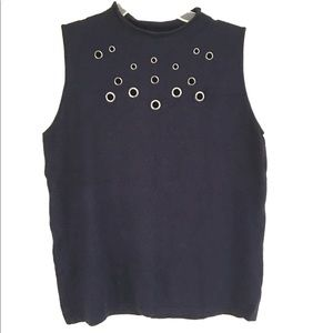 NWT Peck & Peck sleeveless blouse with grommets L